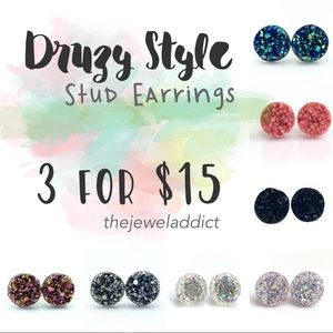 3 Pairs for 15🎀 Drusy Druzy style earrings